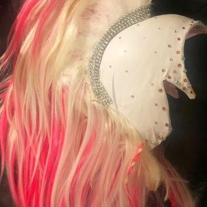 Pink Horse Unicorn Mane Helmet Headdress Headpiece